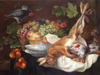 Заяц, фрукты и попугай